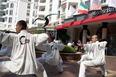 少林塔沟武术学校演员为嘉宾进行了精彩的武术表演